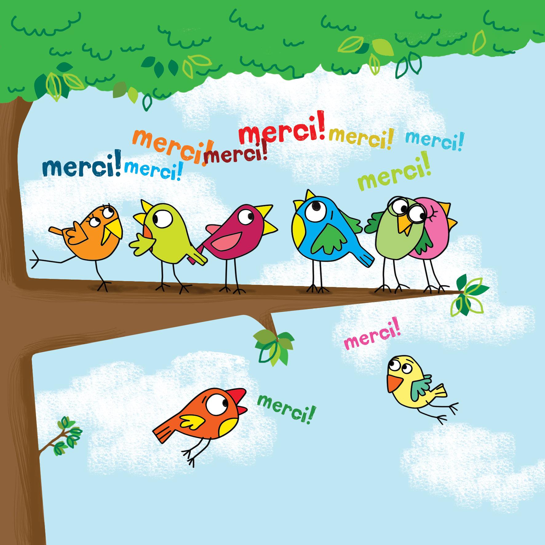 Carte Remerciement Cecile Drevon Merci Oiseaux Editions Cote