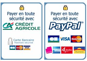 paiements sécurisés par PAYPAL et Crédit Agricole